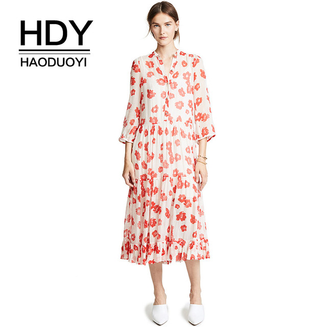 HDY Haoduoyi Euramerican Fashion New style Comfortable Simple Floral Print Ruffled Hem Micro-perspective College Popular Dress