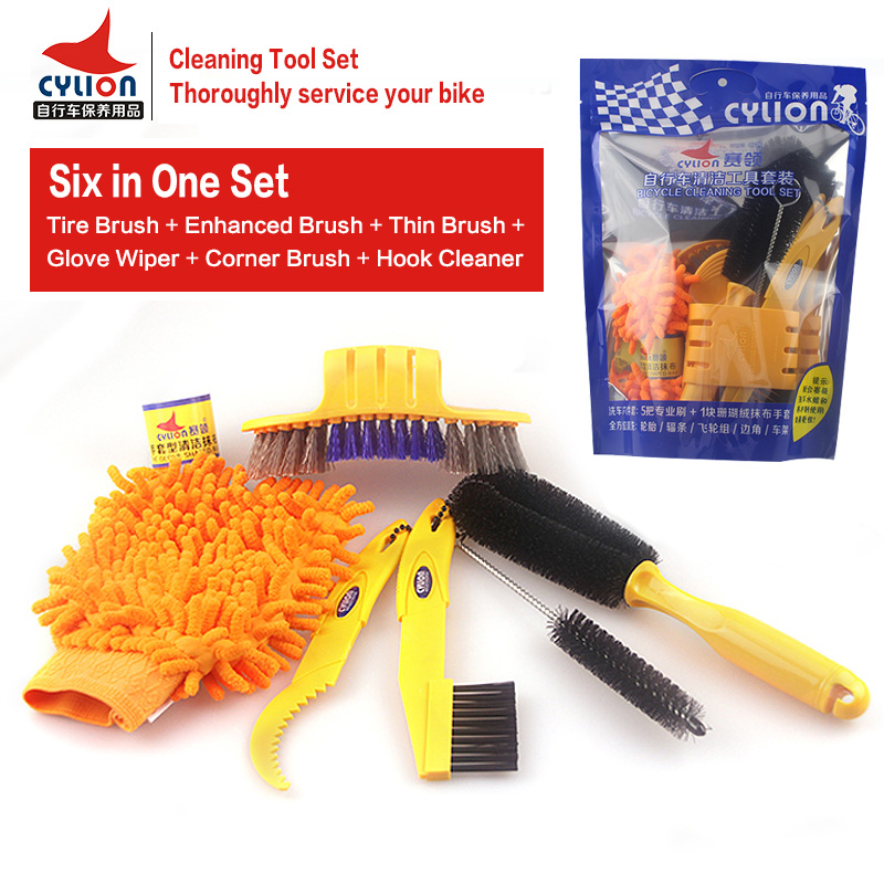 CYLION 6pcs/lot Mutilfunctional Mountain Bike Cleaning Tool Set Cycling Tire Brush Bicycle Chain Brake Disc Wheel Rim Cleaner