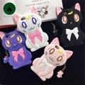 Moda Encantador Dos Desenhos Animados Sailor Moon Luna Cat Caso 3D Arco para iphone 6 6 s plus suave silicone capa shell com fone de ouvido à prova de poeira plugue