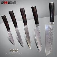 SHINE Sharp Damascus Knives Santoku Utility Paring Knives 5 Pcs Set Japanese VG10 Stainless Steel China
