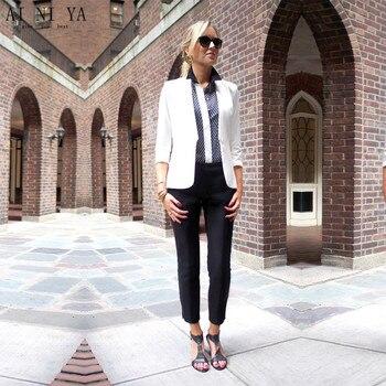White Jacket Black Pants Womens Business Suits Formal Office Uniform Evening Ladies Trouser Suit Wedding Tuxedo Slim 2 Piece