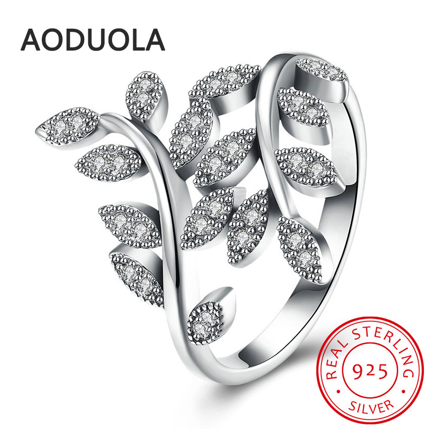 925 Sterling Silver Sparkling Leaves and Clear CZ Womens Rings for Ladies and Girls Finger Lover wedding Gift