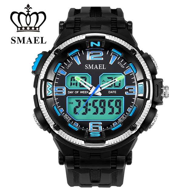 Analog-Digital Dual Time Watches for Men Waterproof LED Sport Watch Digital with Gift Box Military Watches Army Male ClockWS1360