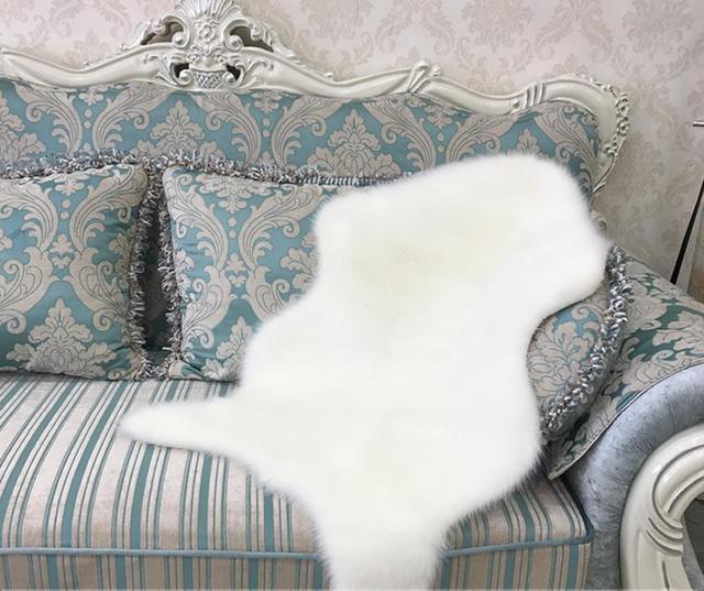 Artificial Sheepskin Hairy Carpet For Living Room Bedroom Rugs Skin Fur  Plain Fluffy Area Rugs Washable Bedroom Faux Mat