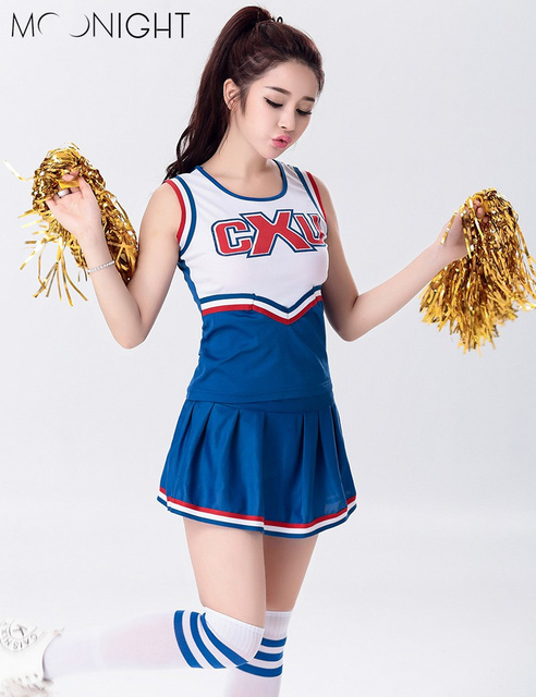 MOONIGHT Sexy High School Cheerleader Costume Cheer Girls Uniform Party Outfit Tops with Skirt  sc 1 st  AliExpress.com & MOONIGHT Sexy High School Cheerleader Costume Cheer Girls Uniform ...