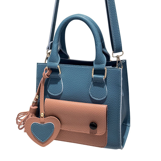 Female PU Leather Heart Totes Hit Color Handbag Fashion Women Falp Patchwork Messenger Bag Small Shoulder Crossbody Bags