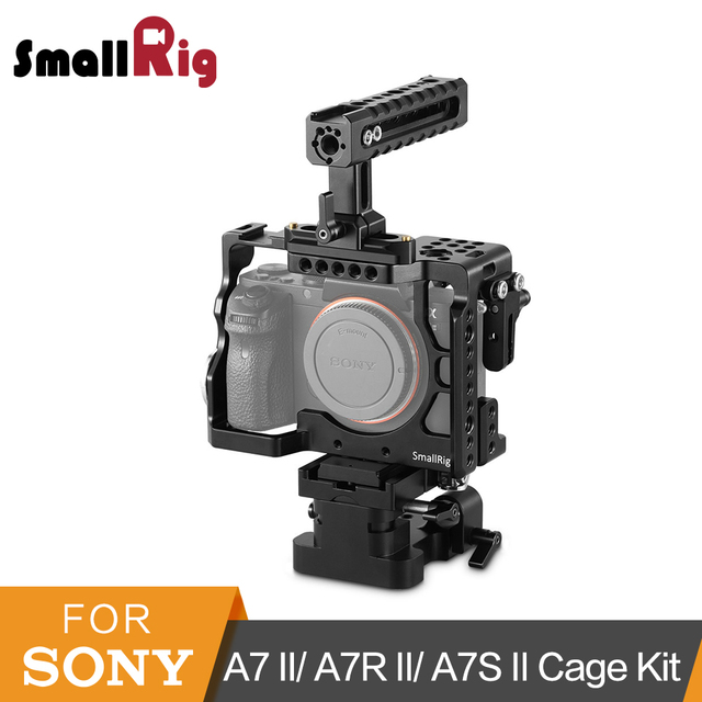 SmallRig A7II A7ii Camera Cage Accessory Kit for Sony A7 II/ A7R II/ A7S II Cage+Handle+Baseplate+HDMI Clamp-2150