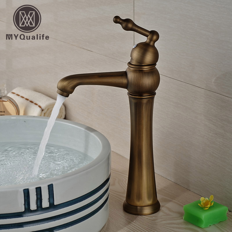 Antique Brass One Hole/Handle Basin Sink Tap Deck Mount with Hot Cold Water Bathroom Mixer Taps стоимость