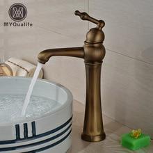 Antique Brass Un Agujero/Lavabo de la Manija Cubierta Monte Grifo Del Fregadero con Agua Caliente Y Fría Mezclador de Baño Grifos