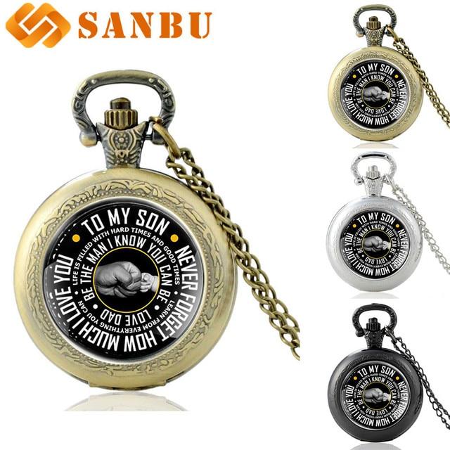 Vintage Bronze Quartz Pocket Watch To Son Fashion Retro Family Member Necklace A