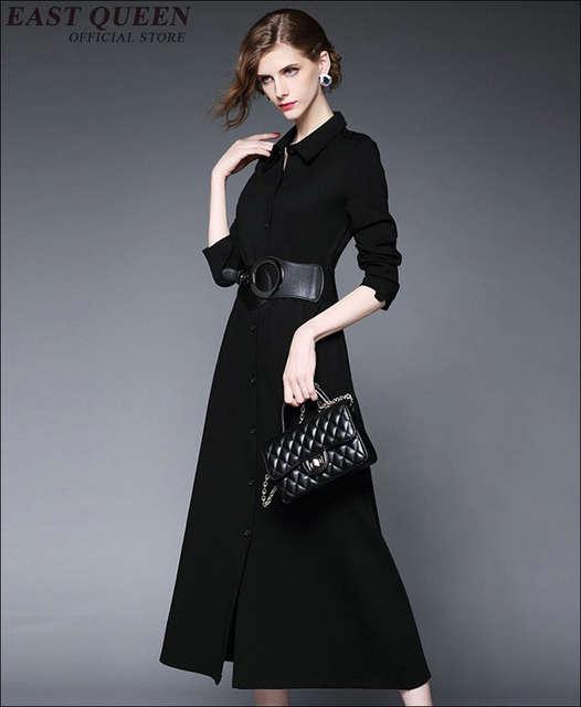 c41d82656b7aa 2018 new arrival women business casual clothing black dress women button  front long sleeve maxi dress with belt KK1201