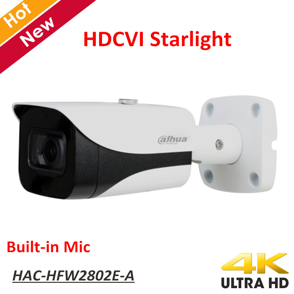 New Dahua 4K Starlight HDCVI Camera Smart IR Dome Camera Video Resolution 8MP Built In Mic IP67 Coaxial Camera HAC-HFW2802E-A