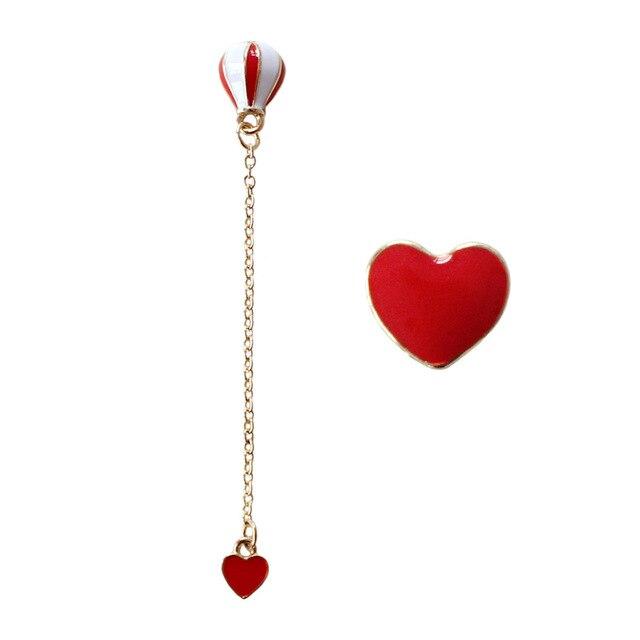 Anese Cute Asymmetrical Enamel Red Heart Hot Air Balloon Long Drop Earrings For Women S