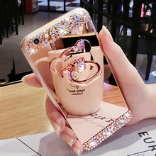 Diamond Glitter Mirror Case for iPhone X 5 SE 6 6S 6SPlus 7 8 Plus Flash Cute 3D bear back Cover With Ring Bracket Funda Coque