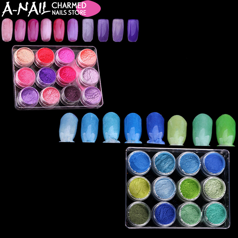 12 Pink Color Set Mocha Gradient Nail Glitter Pigment Powders And 12 Green Color Set UV Gel Polish For Nails Art DecorationTool hisenlee 1728pc pack multi size ss3 ss10 blue green pink white opal nail rhinestone glitter flat back crystal gems 3d nail art
