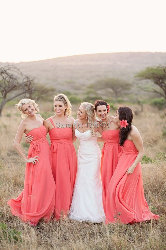 744421a6c0 2016 Coral Maxi Dress for Bridesmaid Wedding Guests Sweetheart Pleat Waist  Off the Shoulder Strap 2 Styles Chiffon Long Vestido