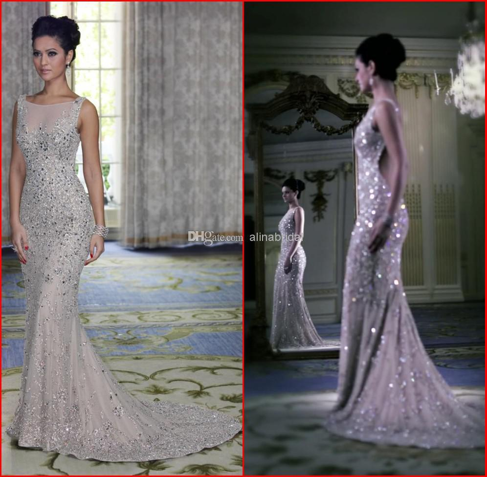 wholesale 2014 luxurious evening dresses nude jewel sexy
