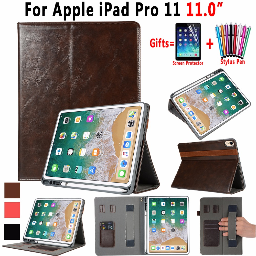 Premium Leather Case for Apple iPad Pro 11 inch 2018 A1980 Auto Awake Smart Sleep Cover Funda + Tablet Hand Strap + Pencil Slot