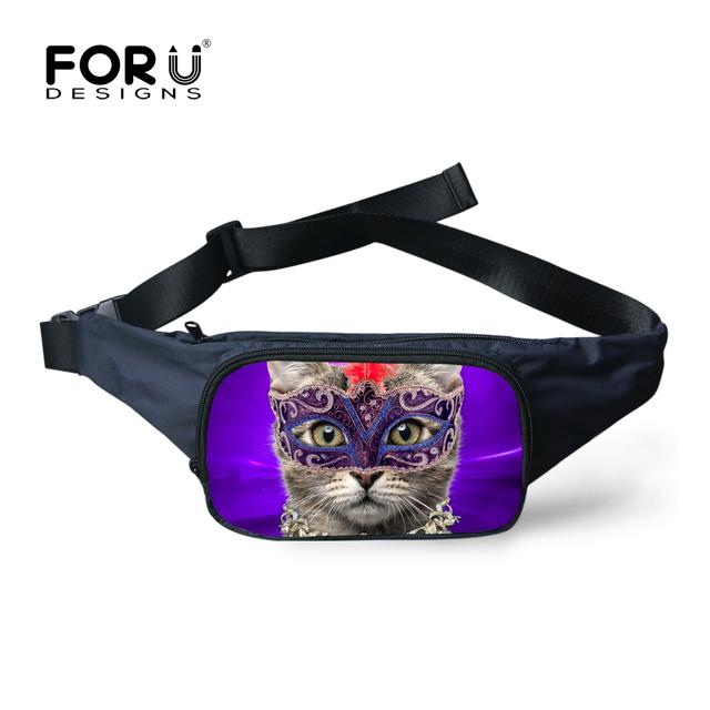 FORUDESIGNS Marca Pequeñas Bolsas Lindo 3D Impreso Cabeza de Gato mujeres Paquete de La Cintura Bolsa de Bolsillo Mini Fanny Bolso de Hombro Del Cruz-cuerpo bolsas