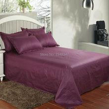 Modena темно-фиолетовый хлопок Отель домашний Атлас полосы Твин/Полный/queen/King Размер плоский лист наволочки набор кровать сплошной цвет