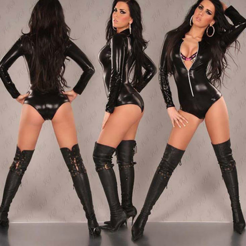 2018 Black Leather Sexy Body Suits For Women PVC Erotic Leotard Costumes Latex Bodysuit Catsuit women Leather Jumpsuits