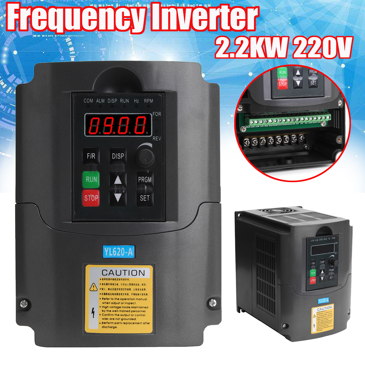 220V 2.2KW AC Variable Frequency Inverter Converter 3 Phase Output Built-in PLC Single Phase Space Voltage Vector Modulation baileigh wl 1840vs heavy duty variable speed wood turning lathe single phase 220v 0 to 3200 rpm inverter driven