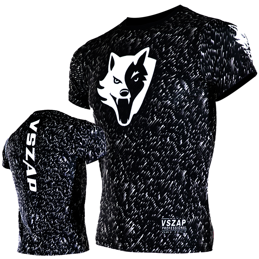 VSZAP Noise Dry Tech T-Shirt Quick-drying Tight t-shirt MMA T-shirts Muay Thai Tech high elastic fiber fabric black Wolf head