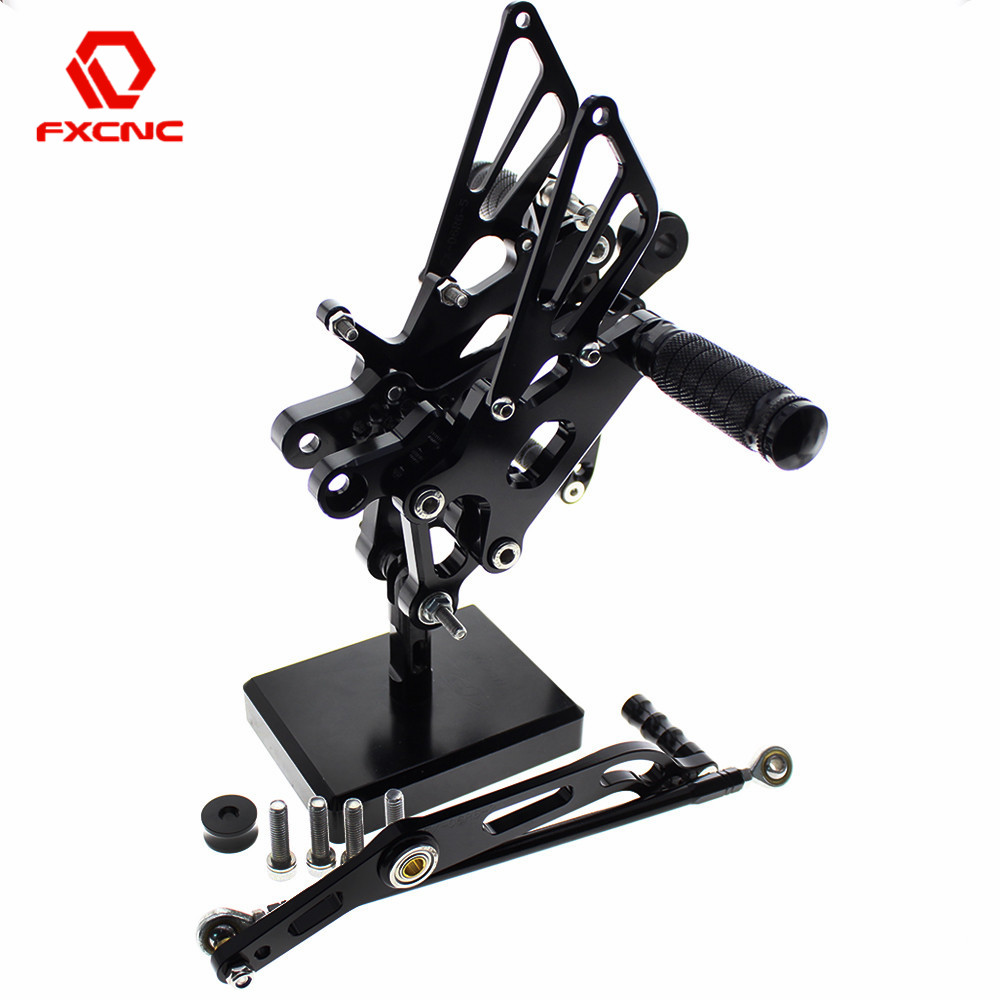 JFG RACING Forward Controls Foot Pegs Motorcycle Rearsets CNC Adjustable Rear Footrest For Yamaha YZF R6 2003 2004 2005,Black