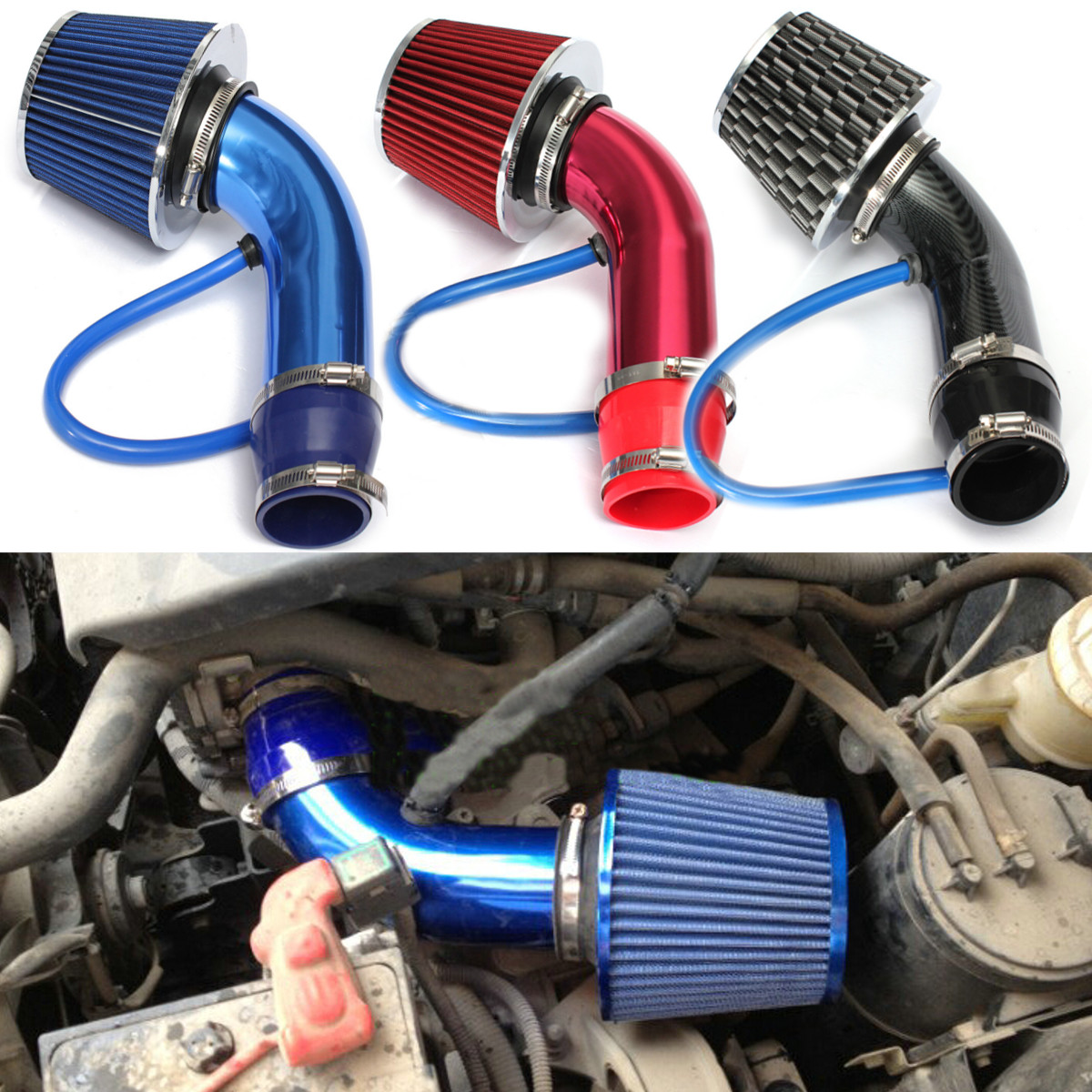 Car Engine Intake Pipe Intake Induction Hose 76Mm Inlet Air Filter System Pipe Kit Cold Air Cone Mushroom Head