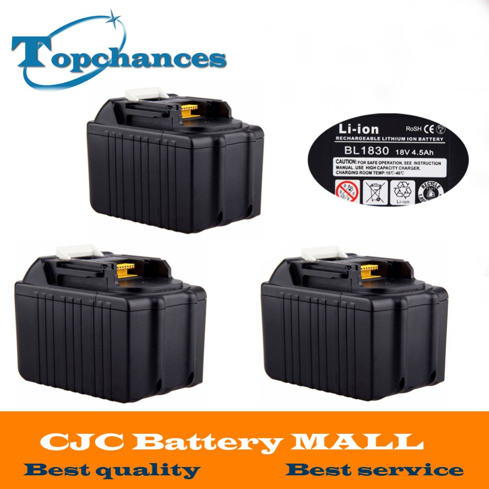 3PCS 4500mAh Brand New Rechargeable Li-ion Replacement Power Tool Battery for Makita 18V BL1830 BL1840 LXT400 BL1815 194230-4 18v 3 0ah nimh battery replacement power tool rechargeable for ryobi abp1801 abp1803 abp1813 bpp1815 bpp1813 bpp1817 vhk28 t40