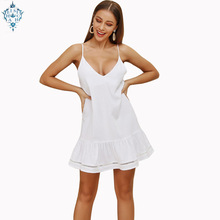 Ameision White A Line Sexy Dress 2019 Women Summer Plus Size V Neck Backless Spaghetti Strap Mini Party Beach Dresses