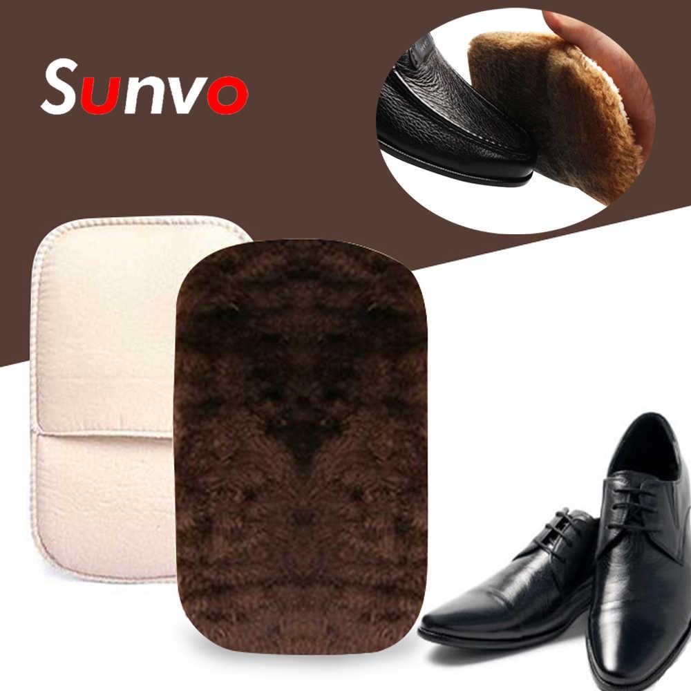Sunvo deri ayakkabı bakım fırça eldiven için parlatma temizleme yumuşak taklit yün peluş ayakkabı temizleyici mendil ayakkabı eldiveni rastgele renk