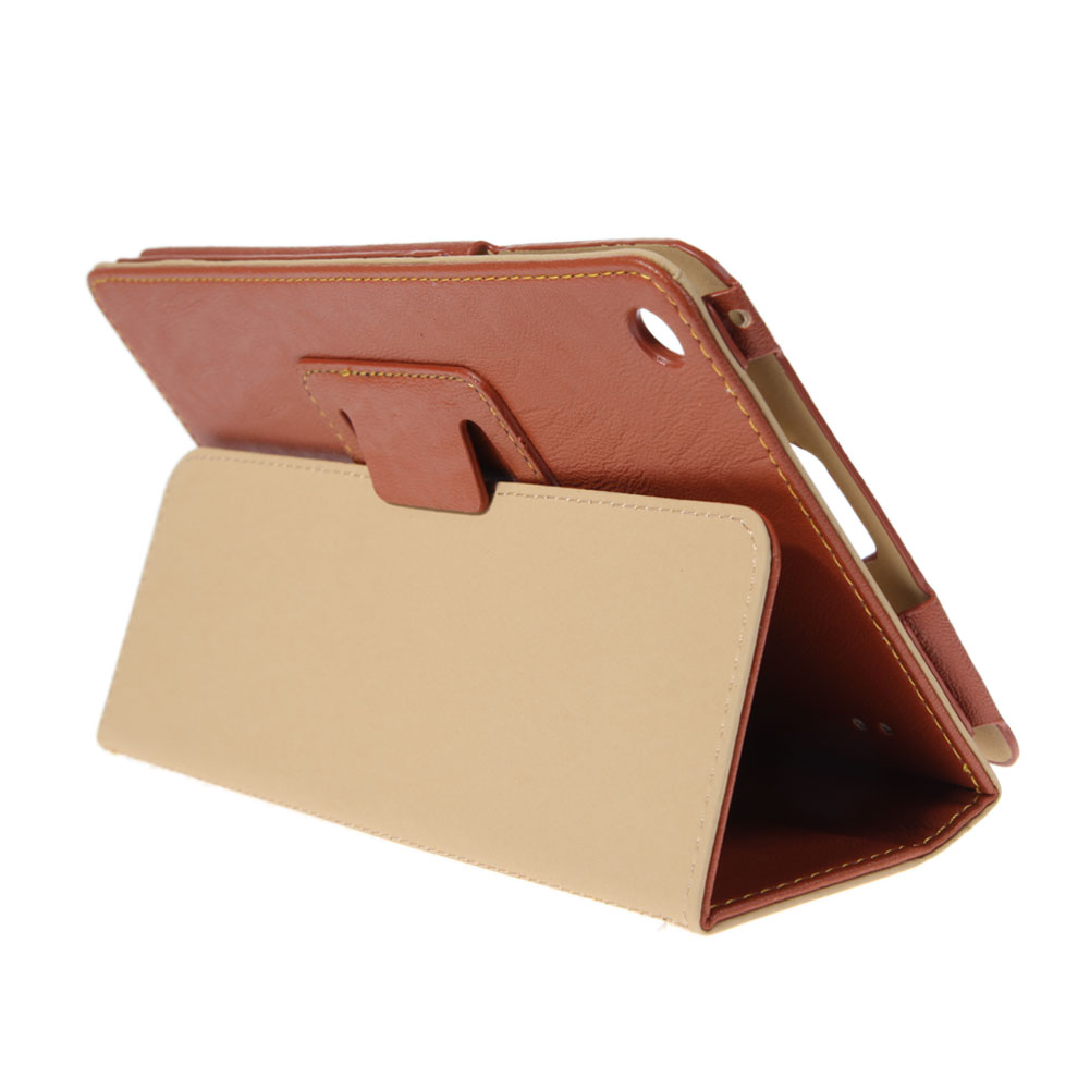 Brown PU Leather Protective Tablet Case Cover with Folding Stand 21.8*13*2cm PU case for Teclast P80h Tablet