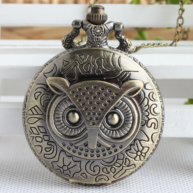 Casual Owl Design Pocket Watches for Men Women Unisex Full Hunter Carved Lid Fob