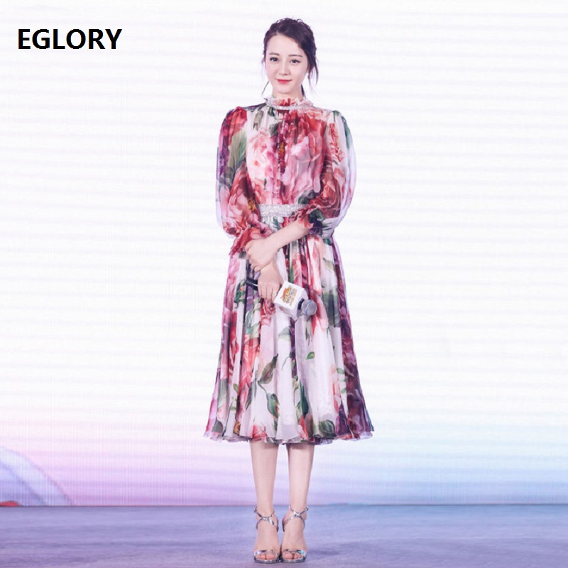 Beautiful Women Dress 2018 Summer Party Casual Ladies Ruffled Collar Charming Flower Print 3/4 Sleeve Large Swing Dress Boutique