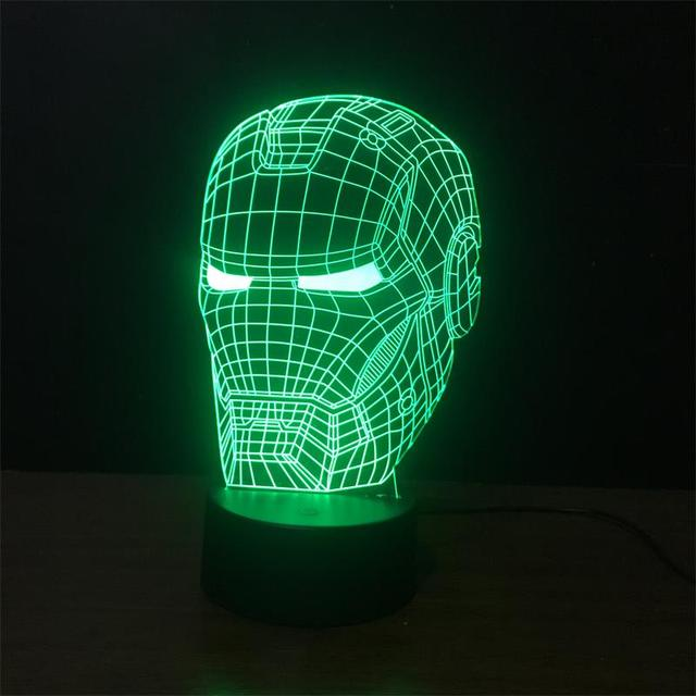 New Marvel Avengers Arte Da ilusão de Super-heróis Homem De Ferro Máscara Noite Luz Da Lâmpada 3D Lampe Humor para Crianças de Brinquedo de Presente Criativo