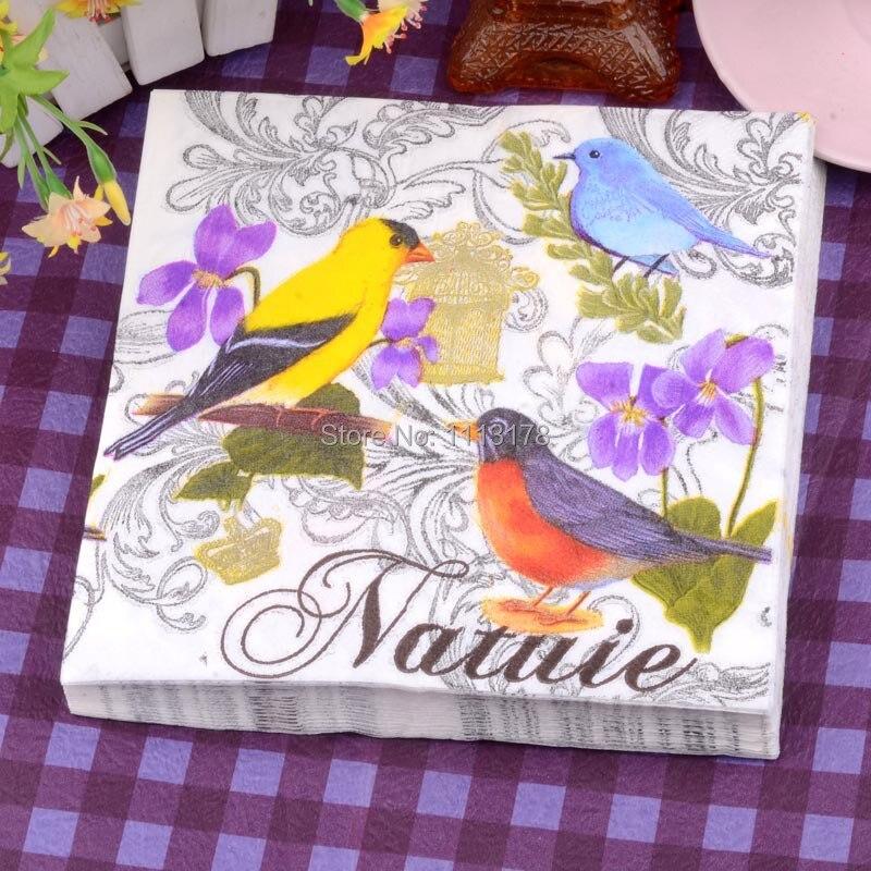 Cheap Paper Napkins Color Brid Flower Printing Wedding