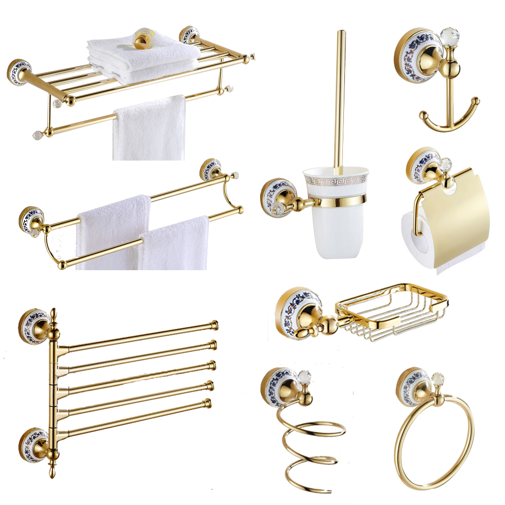 Buy European Style Bathroom Pendant Set Gold Plated Antique Bathroom Hardware