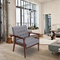 Ретро середине века стул современный акцент деревянный стул рука мягкая Хохлатая спинки шезлонги сиденье (серый ткань)