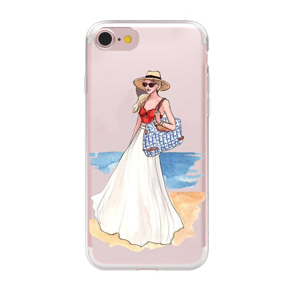 Telepon Lembut Kasus untuk iPhone 5 5 S 6 6 S 7 7 Plus Bepergian Gadis Desain Yang Indah Gadis Bikini cover untuk iPhone X XS Max XR Case