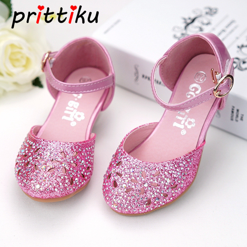 Toddler Girl Flower Hollow Out Studded Rhinestone Glass Diamond Sandal Little Kid Leather Glitter Pumps Big Children Dress Shoes oshkosh b gosh hava g athletic sandal toddler little kid