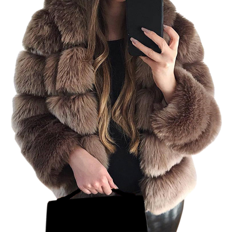 Sexy Winter Faux   Leather   Elegant Lady Party Warm Wool Fur Coat Hooded Coat Jacket Solid Turn-Down Collar Open Stitch Slim