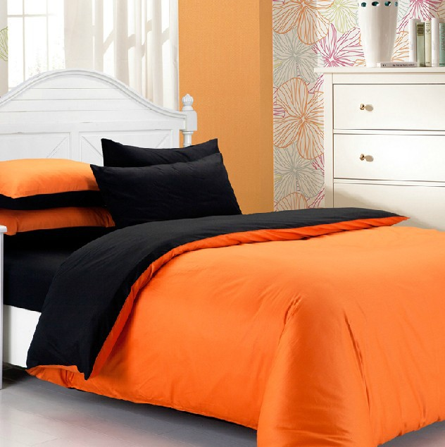 hot fashion 4pcs 100 cotton solid black and orange bedding sheet duvet cover set for twin