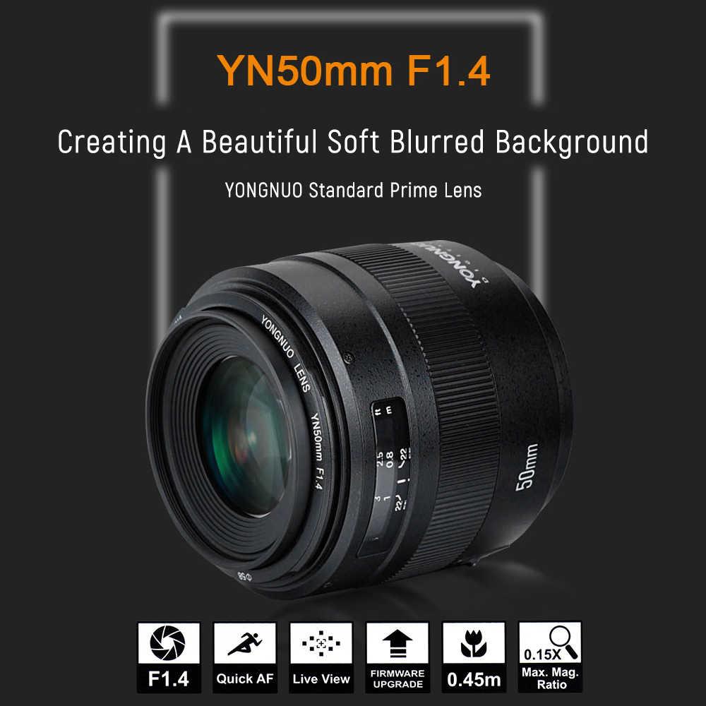 YONGNUO YN50mm F1.4 standardowe Prime obiektyw do modeli canon EOS 70D 5D2 5D3 600D lustrzanka cyfrowa duża przysłona automatyczne ustawianie ostrości