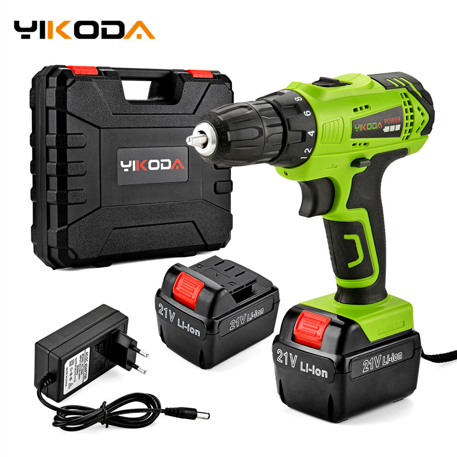 YIKODA 21V Electric Drill Lithium Battery DIY Mini Rechargeable Drill Double Speed Cordless Drill Household Power Tools-in Electric Drills from Tools on