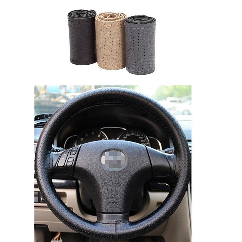 38CM/15 Car Steering Wheel Cover Needles - Thread DIY four-season Micro Fiber pu Leather Durable ventilate for nissan vw etc.