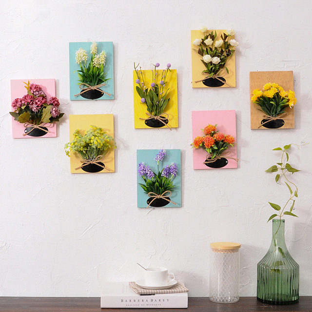 Diy Artificial Flowers For Decoration Wooden Board Wall Hanging