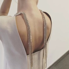 Qiaose 2018 New Shiny Rhinestone Long Chain Sexy Choker Necklace High Quality Crystal Rhinestone Necklace For Gown Accessories