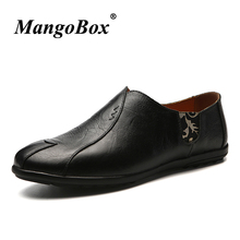 Man Casual Shoes Black Dark Brown Slip-on for Male Spring Autumn Loafers Flat PU Leather Rubber Sole Driving