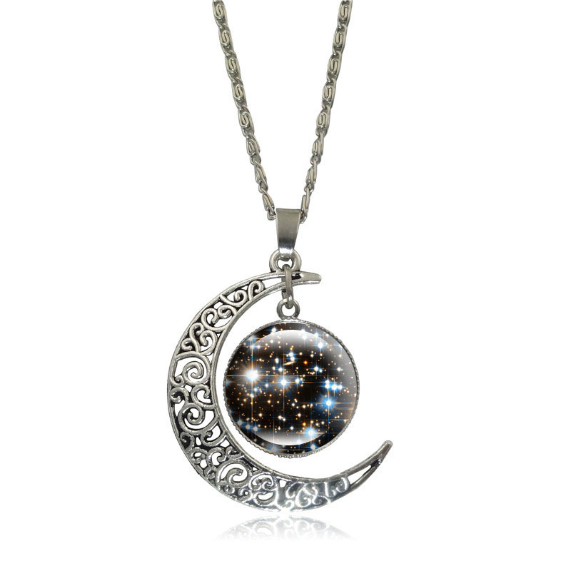 Fashion Silver Crescent Moon Pendant Necklace Universe Galaxy Nebula Glass Cabochon Jewelry Snake Chain Necklace Women Gifts